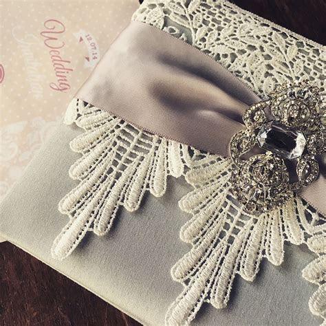 Lace Wedding Invitations Featuring Silver Dupioni Silk