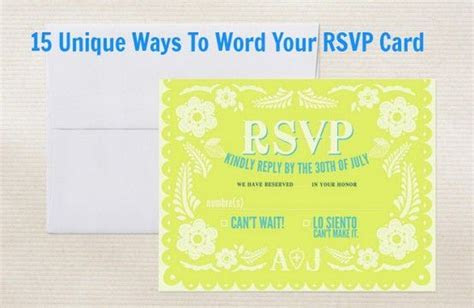 Ways To Word Your RSVP Card   Words, Unique and Cards