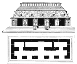 Elevation and plan of the Temple of the Inscriptions, Palenque