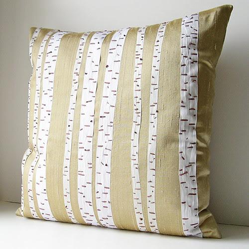 Birch trees silk pillow