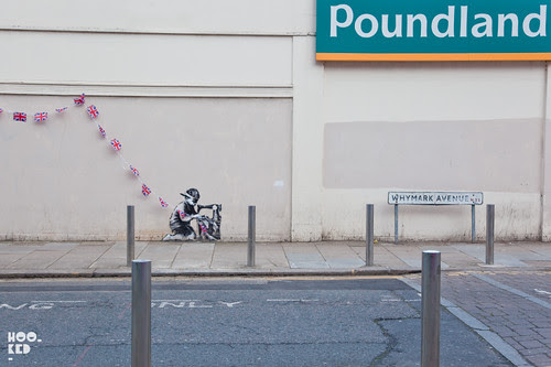 Pictures of the new London Banksy Sewing Boy - Diamond Jubilee piece