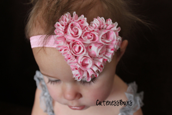 15% Off Valentine Headband, Heart Headbands, Baby Headband, Baby Bows Headband, Infant Headband, Pink Head band ,Head band, Valentines Bow