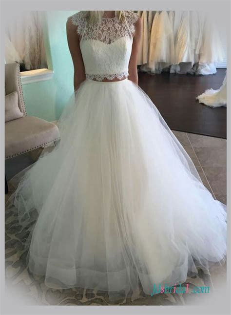 Two Pieces wedding dresses,separated tulle lace Wedding Skirts