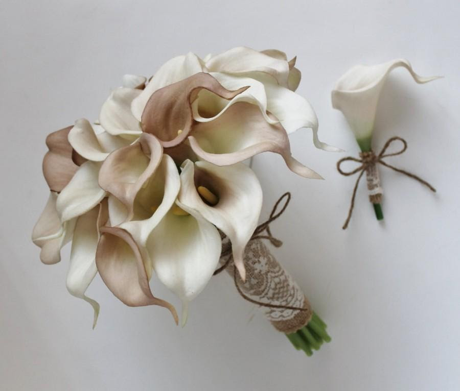 Wedding Bouquet Bridal Bouquet Ivory Beige Calla Lily Bouquet