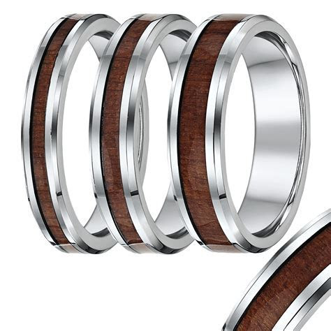 Titanium wedding ring Band,with wood grained inlay   Wood