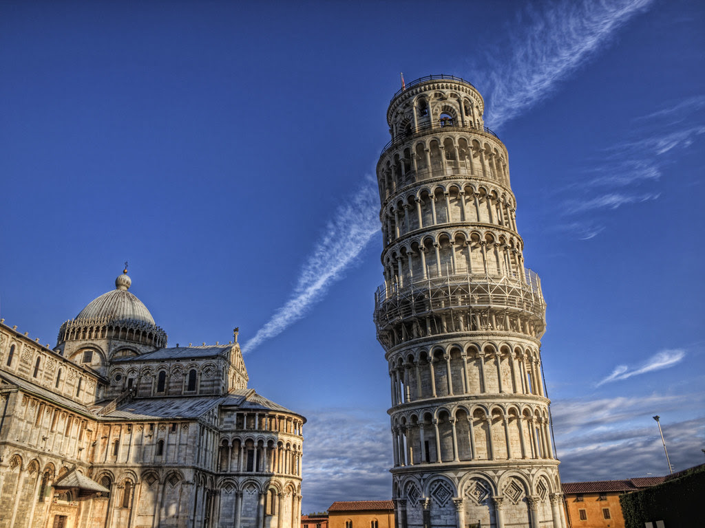 Leaning Tower and Contrail
