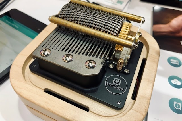 Muro is a retro-style cylinder music box you control with an app