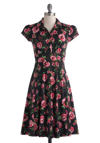 Author's Autograph Dress - Long, Black, Green, Pink, Floral, Buttons, Shirt Dress, Cap Sleeves, Collared, Work, Casual, Vintage Inspired, Spring, Summer, Exclusives