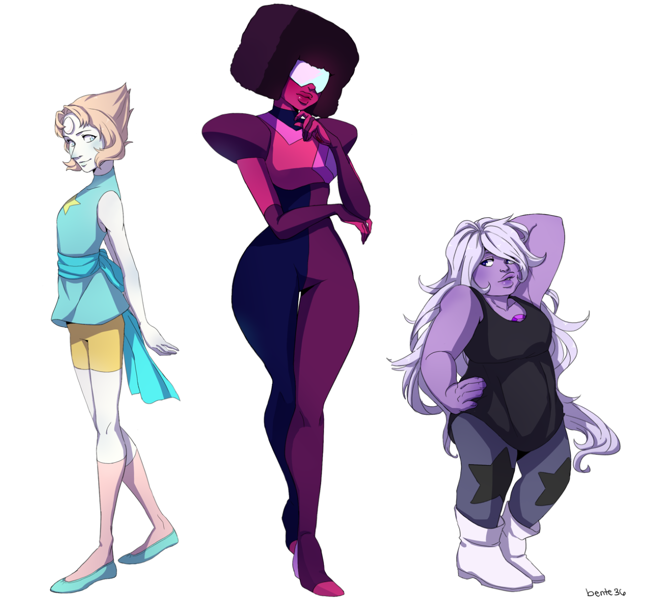 The crystal gems! I love drawing them! Now we just need Jasper.