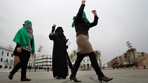 Women demonstrating in support of the Libyan government in the capital of Tripoli. Reports from the eastern region of the country say that the government forces are heading toward retaking Benghazi where the rebellion started. by Pan-African News Wire File Photos
