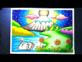 Gambar Pemandangan Gunung Cat Air