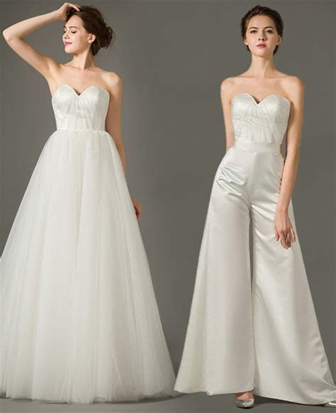 Unique Sweetheart Satin Tulle Two In One Wedding Jumpsuit