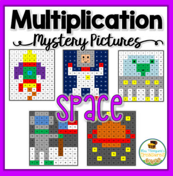Multiplication Mystery Pictures Activity - Space Explorers Pack