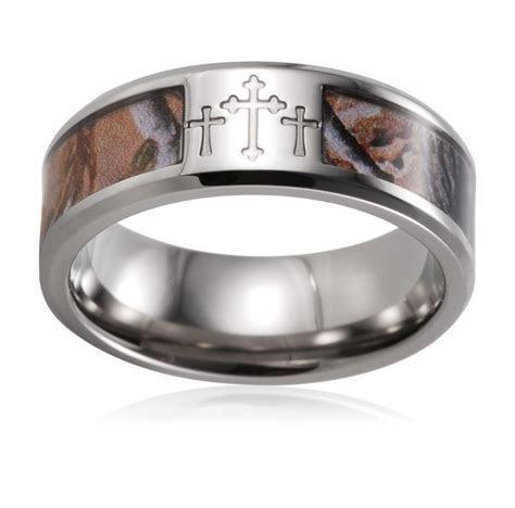 Camo Cross Ring Titanium CNC 3 Crosses Realtree Camo Ring