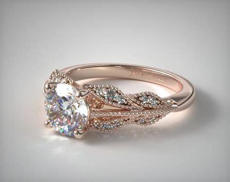 engagement rings, vintage, 14k rose gold vintage inspired