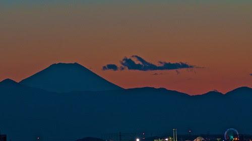 夕暮れ富士と観覧車