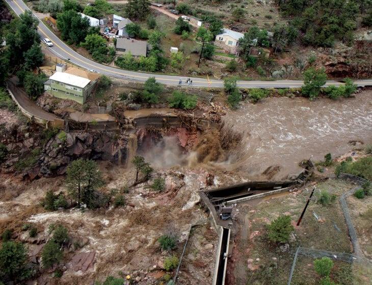 impresionante inundación en Colorado, USA