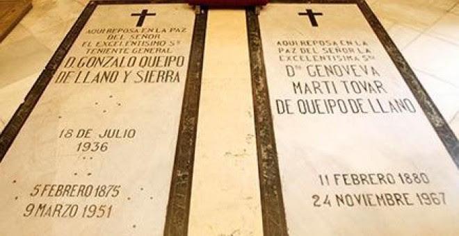 Tumba del general Queipo de Llano, junto a la de su mujer, en la basílica de la Macarena
