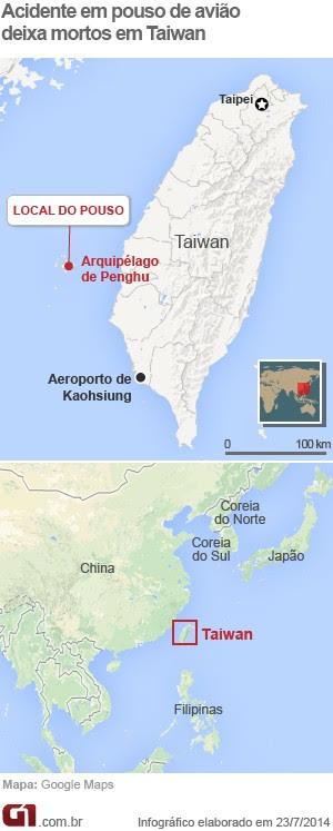 Mapa Queda Avião Taiwan V2 (Foto: Editoria de Arte/G1)