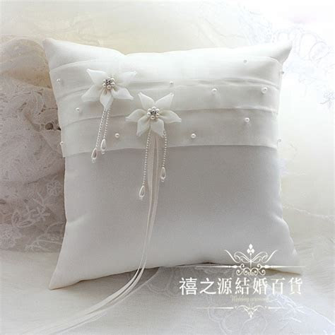 Wedding Ring Pillow Beige 21*21CM Satin Flower Handmade