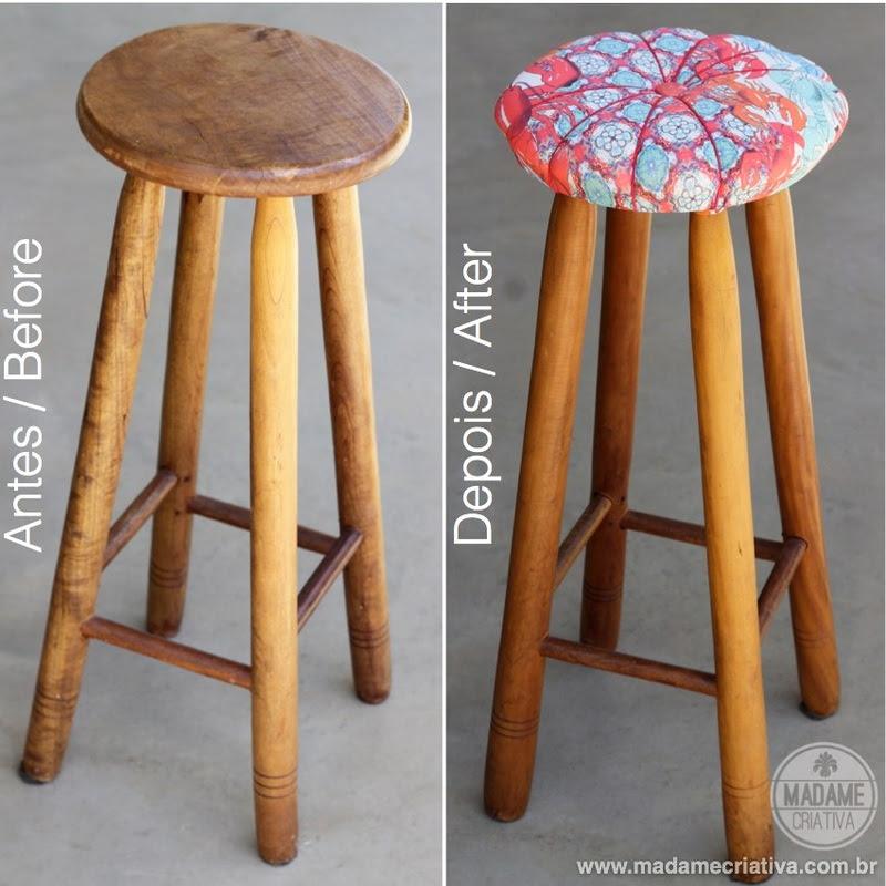 Easy and fast way to remodel a stool. No sewing! DIY tutorial - Como reformar um banquinho sem precisar costurar - Passo a Passo - Estofado rápido
