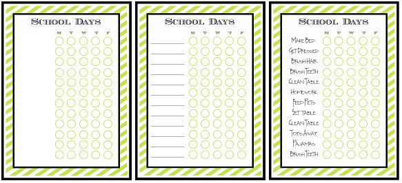 Free Printable Chore Charts for Kids   Fab N