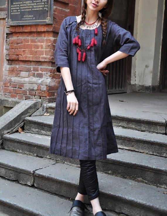 Linen Tunic Dress - Linen Shirt Tunic - Custom Made - camelliatune