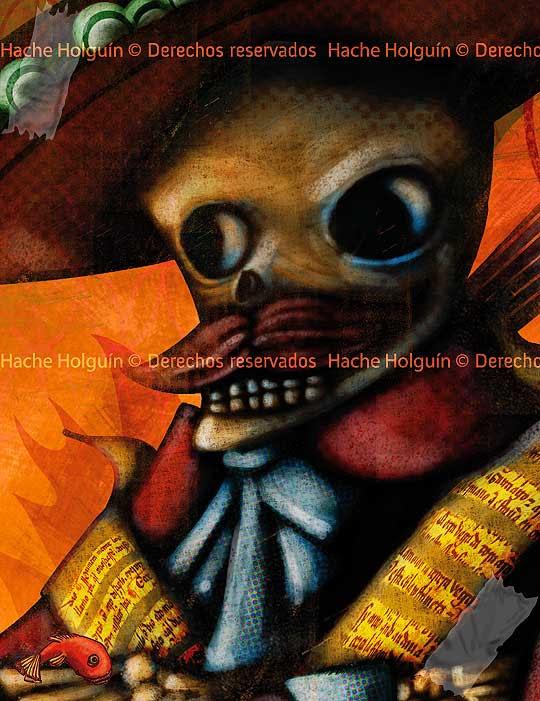 Ilustración sobre literatura mejicana por Hache Holguín, detalle portada para Lecturas de El Tiempo