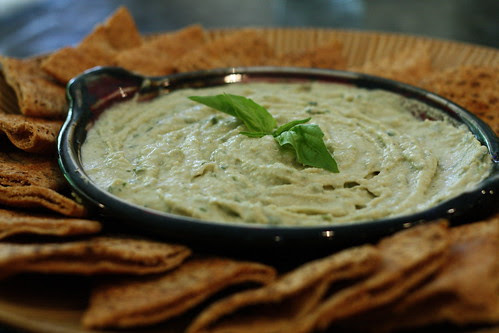 White Bean Hummus with Fresh Thyme and Basil