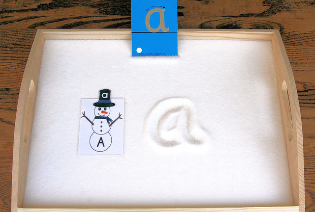 Sandpaper Letter with Snowman Letter Salt Tray