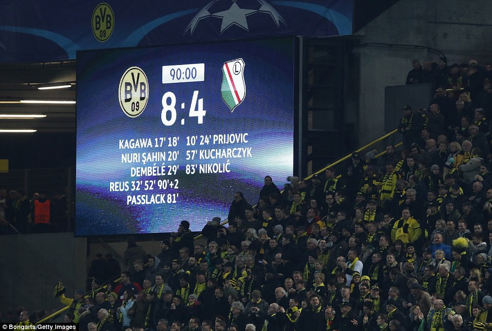 The 12 goals scored between Borussia Dortmund and Legia Warsaw breaks a 13-year Champions League goal-scoring record