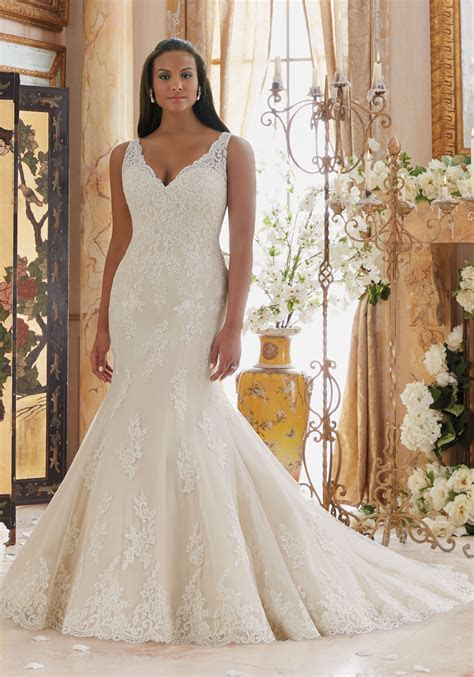 Embroidered Lace Appliques on Tulle with Scalloped Hemline