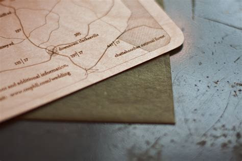 Sara   Jeff's Laser Etched Wood Veneer Wedding Invitations