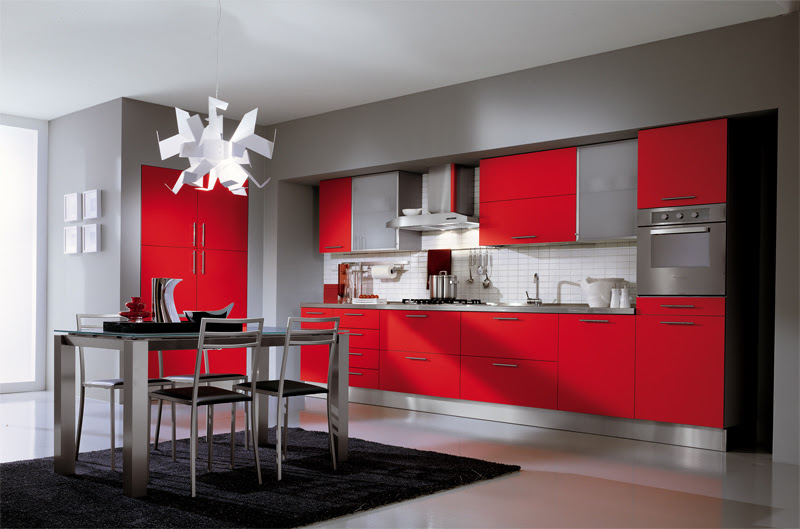 Home Architec Ideas Kitchen Design Red And Grey