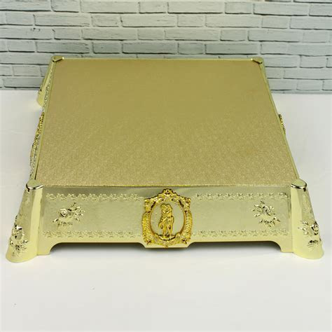 14 Inch Square Gold Cake Stand With Motifs