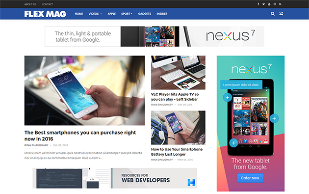 FlexMag Responsive News/Magazine Blogger Template