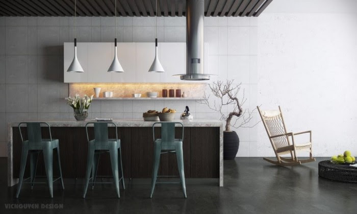 modern kitchen with island bar