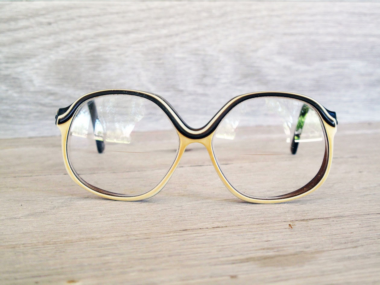 Vintage Dianne von Furstenberg Eyeglasses, Vintage Glasses, Vintage Eyewear, Brown and Cream Glasses