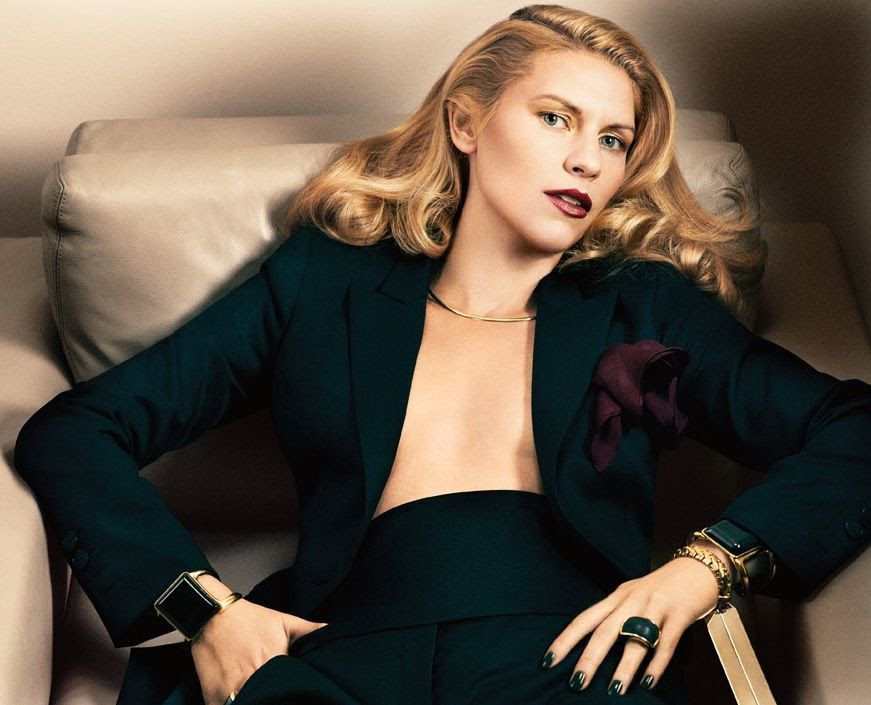 LE FASHION BLOG CLAIRE DANES INTERVIEW MAGAZINE Photography Fabien Baron Stylist Karl Templer GOLDEN GLAM CHIC GLAMOUR HAIR VOLUME GOLD SHIMMER EYESHADOW BURGUNDY LIPS LIPSTICK BLACK NAILS MANICURE BLACK TUX BLAZER JACKET AND PANTS: STELLA McCARTNEY. CUMMERBUND AND BURGUNDY POCKET SQUARE: TURNBULL & ASSER. CHOKER NECK CUFF  NECKLACE: CAMILLA DIETZ BERGERON. STONE CUFF BRACELETS: CHLOÉ. CHUNKY CLEAN MINIMAL RING BLACK STONE RING : MAIYET. MINAUDIÈRE: J.MENDEL 4 photo LEFASHIONBLOGCLAIREDANESINTERVIEWMAGAZINE4.jpg