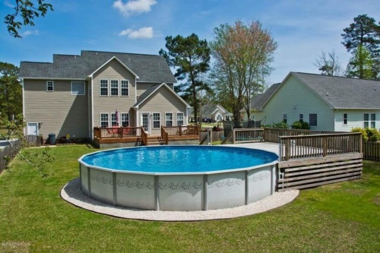 above ground pool ideas with small deck for small space