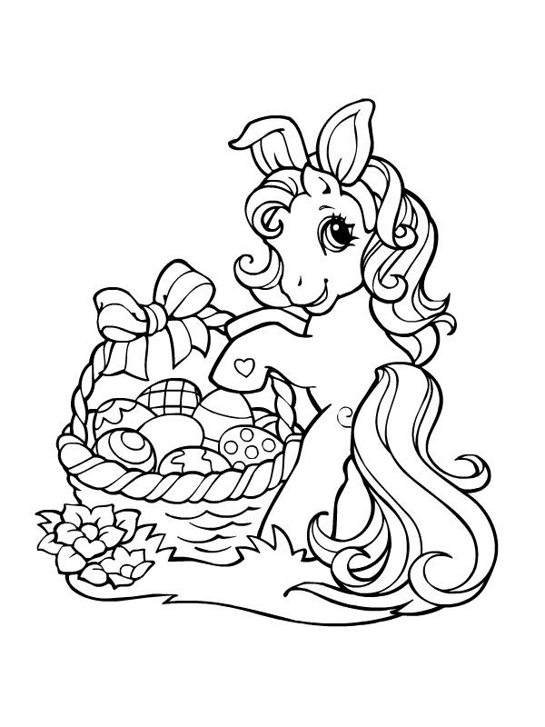 Coloriage A Imprimer Petit Poney Lapin De Paques Et Ses Oeufs