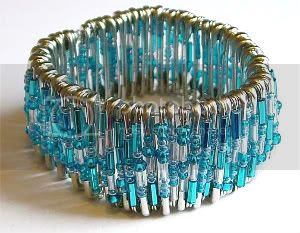 Turquoise Shimmer Safety Pin Bracelet by Sugarberry Delights