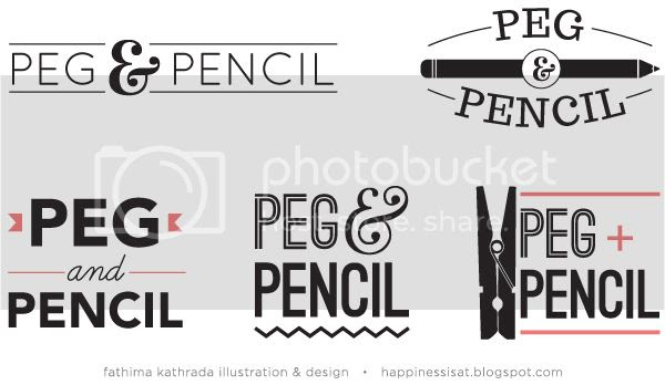 Logo options - Peg & Pencil branding by fathima kathrada illustration & design, durban