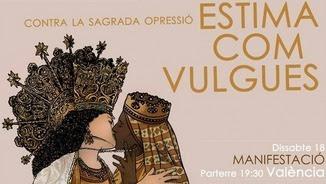 La verge valenciana fent un petó a la boca a la Mare de Déu de Montserrat