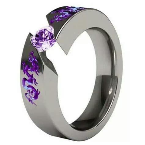 Purple Solitaire Gem Samsara Dragon Round Titanium Ring