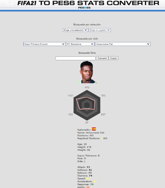 Ya disponible el conversor de stats de FIFA21 a PES6. ¡PRUEBALO!