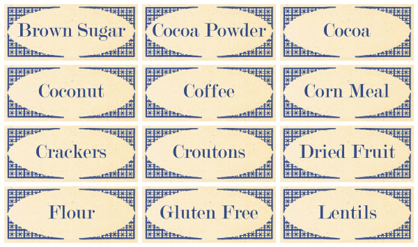 Printable Kitchen Labels