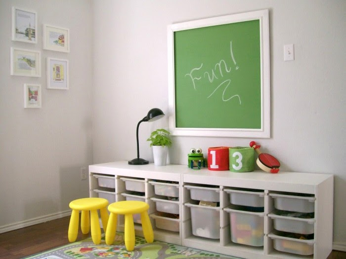 findingfabulousblog.com Chalk board white child's room pop of yellow stools and storage