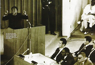 Kwame Nkrumah speaking at the Organization of African Unity Summit in 1964 in Egypt calling for a continental unity government for Africa. 2009 marked the 100th anniversary of his birth. by Pan-African News Wire File Photos