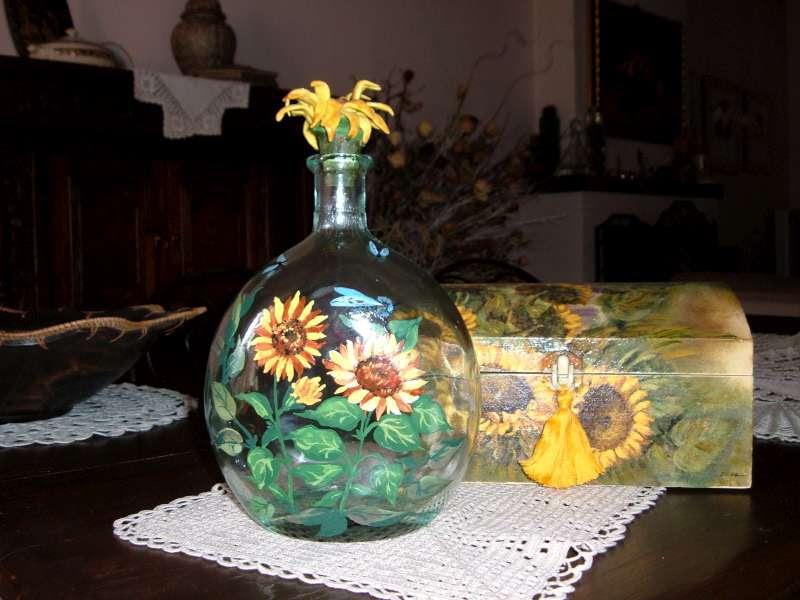 Bomboniere uncinetto battesimo decoupage su vetro bottiglie - Bottiglie vetro decorate ...